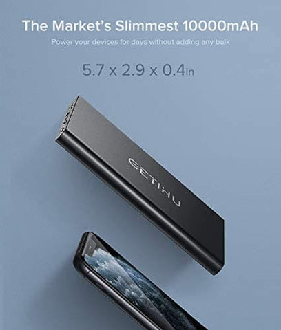 The Slimmest 10000mAh Power Bank 4.8A High-Speed 2 USB Ports with Flashlight Power Bank