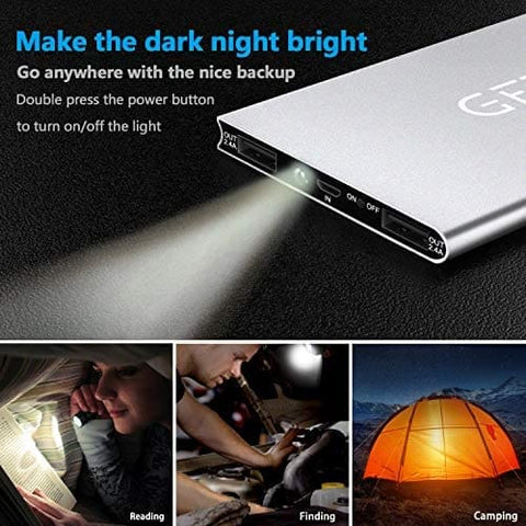 Image of The Slimmest 10000mAh Power Bank 4.8A High-Speed 2 USB Ports with Flashlight Power Bank