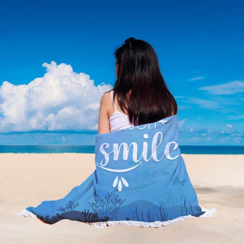 Theres Always a Reason to Smile - Round Beach Blanket Beach Blanket