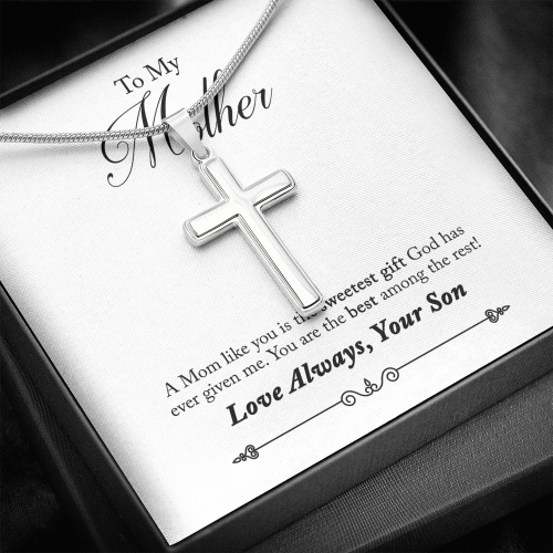 To My Mother 14k White Gold Finish Cross Necklace Jewelry