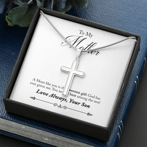 Image of To My Mother 14k White Gold Finish Cross Necklace Jewelry