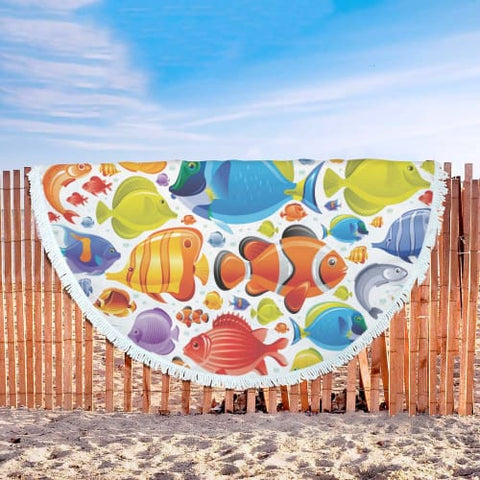 Image of Tropical Fish Explosion - Round Beach Blanket Beach Blanket