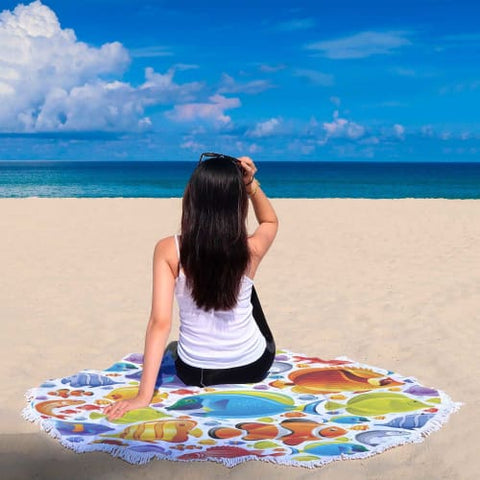 Tropical Fish Explosion - Round Beach Blanket