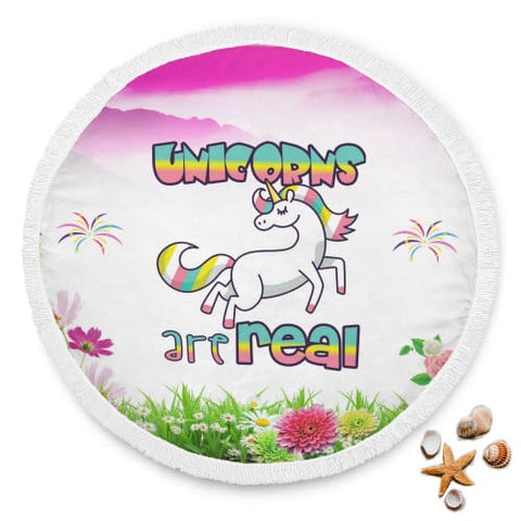 Unicorns Are Real Round Beach Blanket Beach Blanket