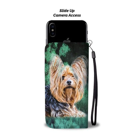 Yorkie In the Jungle Print Wallet Case Wallet Case