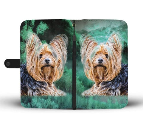 Yorkie In the Jungle Print Wallet Case