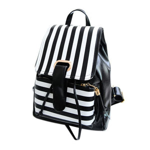 Womens leather striped travel bag