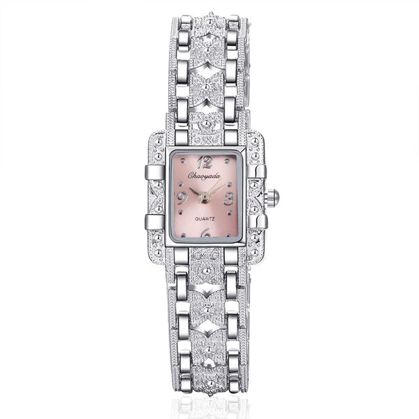 Women's Royal Roman Style Square Crystal Studded Watch