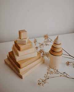 Wooden Square Pyramid Stacker