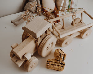 Wooden Tractor With Hay Trailer
