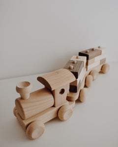 Wooden Train With Carriages And Building Blocks