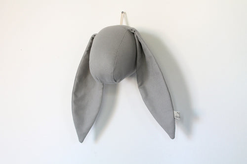 Bunny Wall Head in Grey Cotton