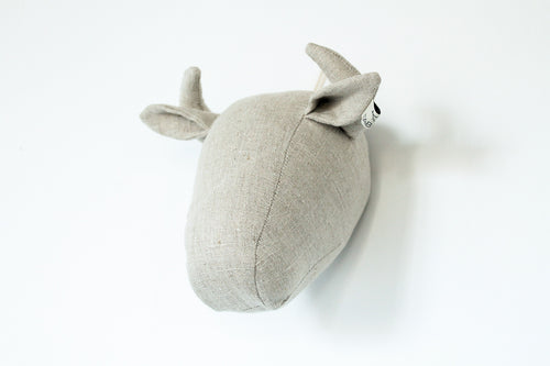 Bison Wall Head in Natural Linen