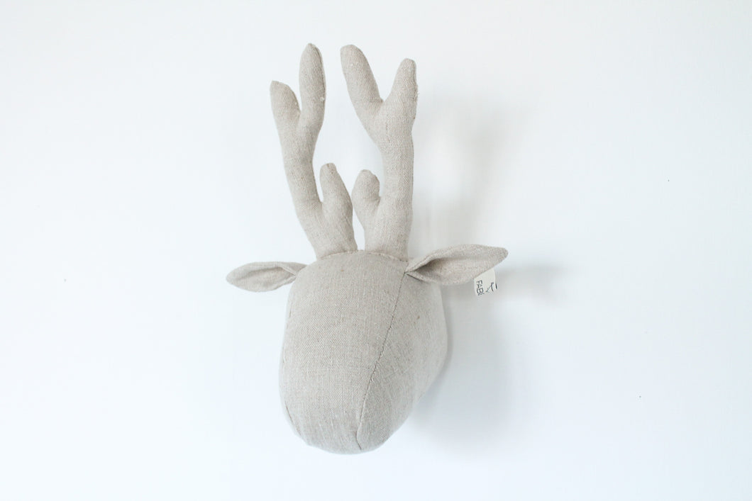 Deer Wall Head in Natural Linen