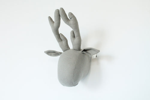 Deer Wall Head in Grey Cotton