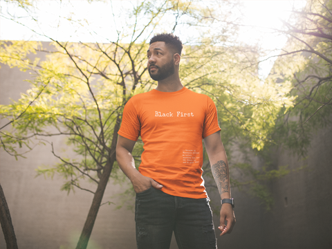 Classic Fit Orange Unisex T-Shirt With Black First design Online