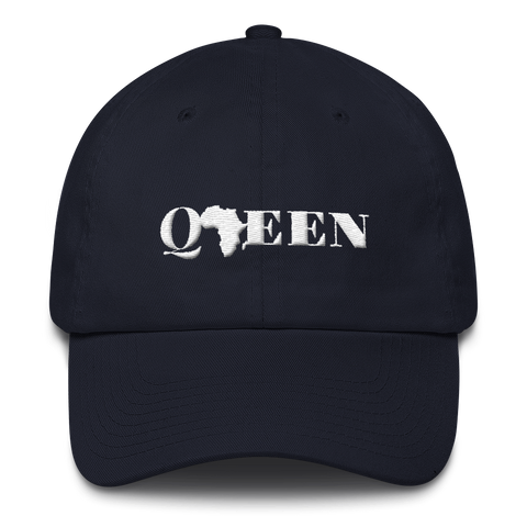 Women's Dad Hat With Black Queen Embroidered Design & Adjustable Strap