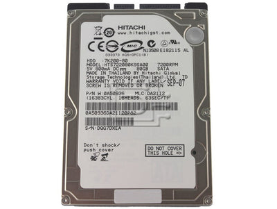 "Hitachi 80GB (0A50936) Travelstar 2.5"" 7K200 SATA 7200rpm 16MB HTS7220080K9SA00 RoHS Laptop Hard Drive"