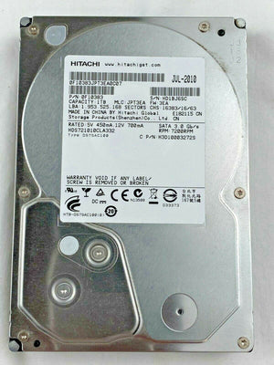 "Hitachi 1TB 7K1000.C HDS721010CLA332 7200 RPM 32MB Cache SATA 3.0Gb/s 3.5"" Internal Hard Drive - 0F10383"