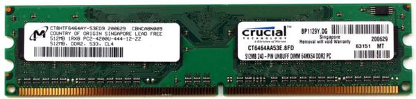 Crucial 512MB 240-Pin DDR2 SDRAM DDR2 533 (PC2 4200) Desktop Memory Model CT6464AA53E