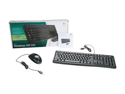 Logitech MK120 Black USB Wired Slim Desktop Keyboard & Mouse - 920-002565