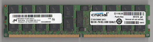 MICRON MT36HTF1G72PZ-667C1 PC2-5300P DDR2 667 8GB 2RX4 ECC REG 2RX4 (FOR SERVER ONLY)