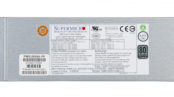 Supermicro 2000W Titanium Level Redundancy 1U AC-DC Power Supply - PWS-2K04A-1R.