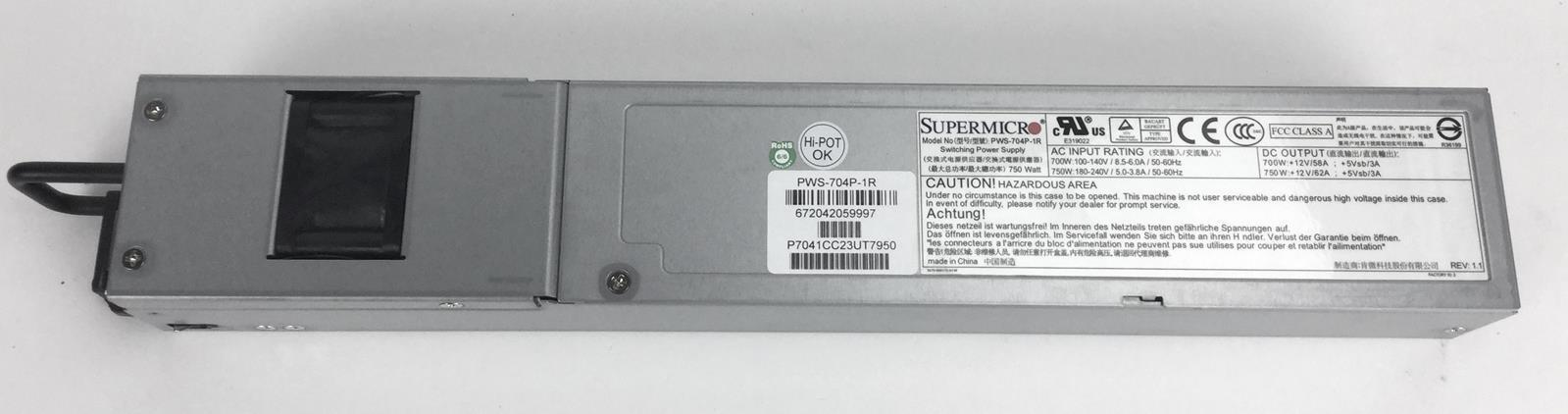 Supermicro 700W 1U Redundant PWS Module, w/ PMBus Server Power Supply - PWS-704P-1R.
