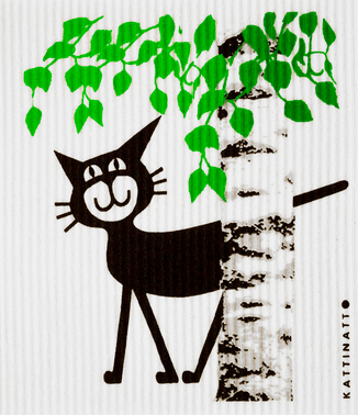 Cat Behind Birch Tree Medium Size