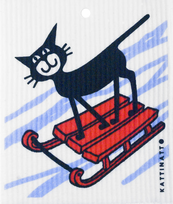 Cat on Sleigh -  swedethings-cad