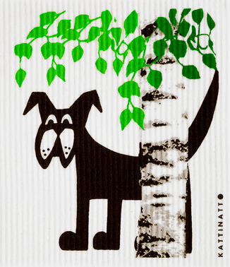 Dog Behind Birch Tree Medium Size