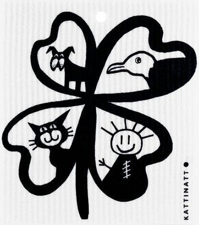 Four-Leaf Clover with Figures Black -  swedethings-cad