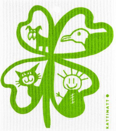 Four-Leaf Clover with Figures Green -  swedethings-cad