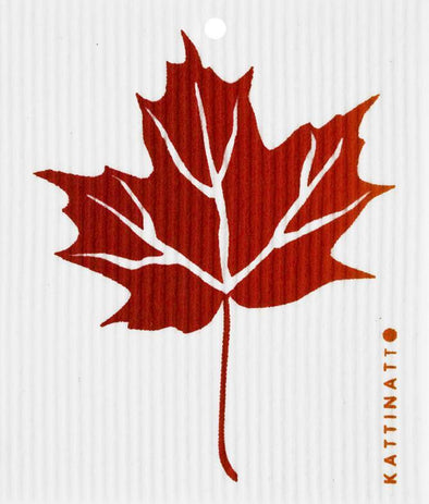 swedethings-cad dishcloth Maple Leaf Red