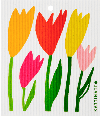 swedethings-cad dishcloth Tulips: yellow and Pink