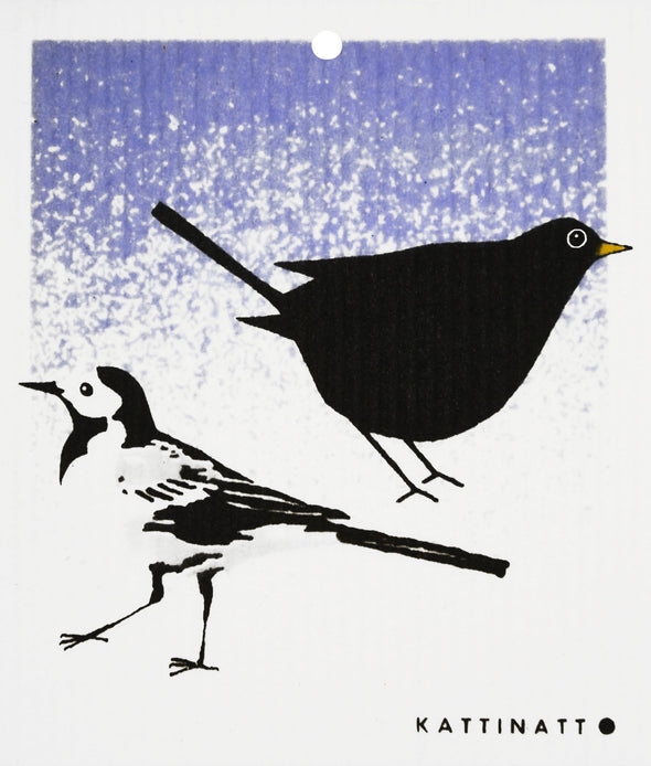 swedethings-cad dishcloth Wagtail and Blackbird