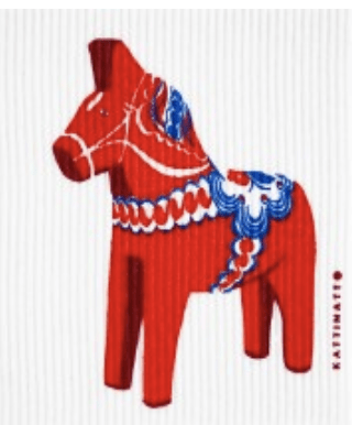 swedethings-cad medium dishcloth Dalahorse red