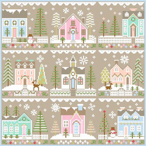 Glitter Village House #4 Cross Stitch Pattern | Country Cottage Needleworks - Blessed Backyard