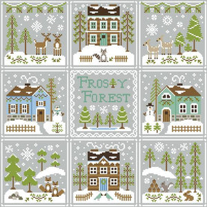 Frosty Forest 1 - Racoon Cabin Cross Stitch Pattern - Blessed Backyard