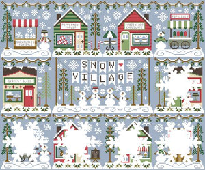 Snow Village 4 - Peppermint Parlor Cross Stitch Pattern | Country Cottage Needleworks - Blessed Backyard