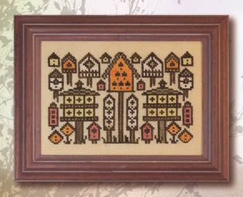 Arranging Birdhouses Cross Stitch Pattern | Ink Circles - Blessed Backyard