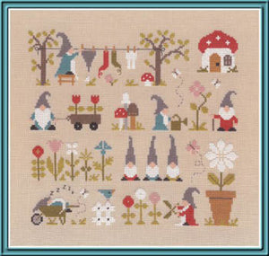 Au Pays des Gnomes Cross Stitch Pattern | Jardin Prive - Blessed Backyard