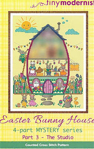 Easter Bunny House Part #3 - The Studio Cross Stitch Pattern | Tiny Modernist - Blessed Backyard