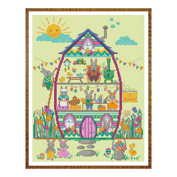 Easter Bunny House Part #4 - The Easter Bunny Cross Stitch Pattern | Tiny Modernist - Blessed Backyard