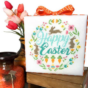 Easter Wreath Cross Stitch Pattern | Tiny Modernist - Blessed Backyard