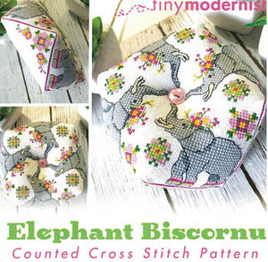 Elephant Biscornu Cross Stitch Pattern | Tiny Modernist - Blessed Backyard
