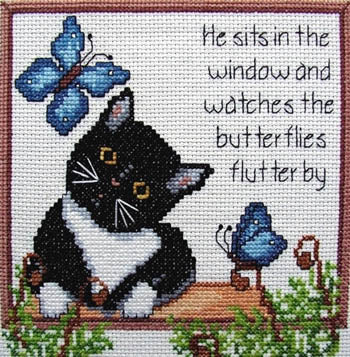 Flutterby Cross Stitch Pattern | Cross-Point Designs - Blessed Backyard