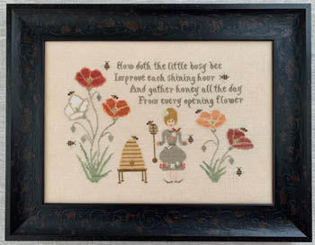 Gathering Honey Cross Stitch Pattern | The Blue Flower - Blessed Backyard