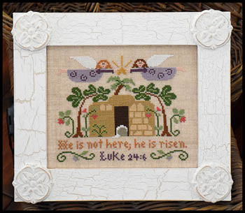 He Is Risen Cross Stitch Pattern | Little House Needleworks - Blessed Backyard