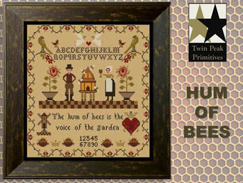 Hum of Bees Cross Stitch Pattern | Twin Peak Primitives - Blessed Backyard